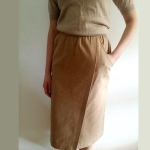 1970's Camel Wool Faux Wrap Pencil Skirt